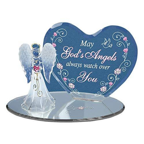 Glass Baron Watch Over You Angel and Heart Handcrafted Figurine Accented with Swarovski Crystal