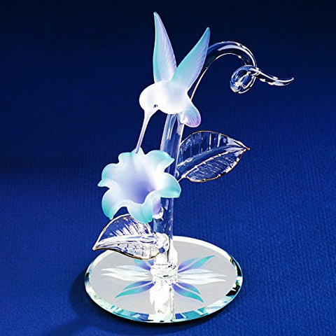 Glass Baron ~ Blue Flower with Hummingbird ~ CF4 403B