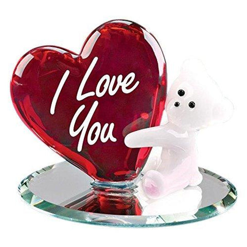 Glass Baron Bear with Heart I Love You