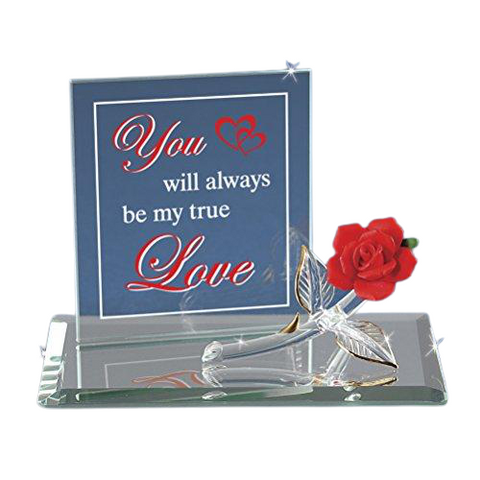 "Glass Baron ""You Will Always Be My True Love"" Red Rose Figurine Accented with 22kt Gold"