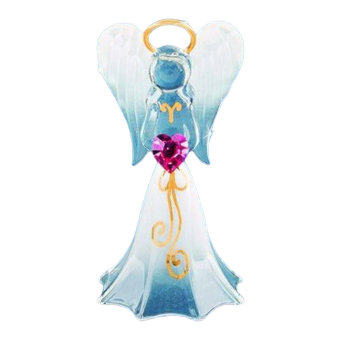 Glass Baron Beautiful Hand-crafted White Angel holding Swarovski Crystal Pink Heart