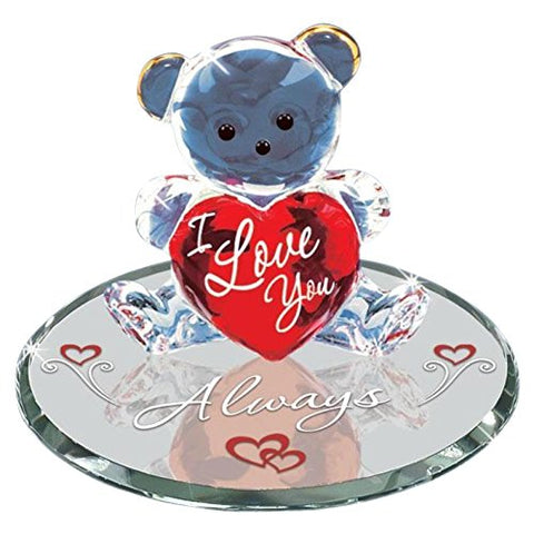 Glass Baron Bear Red Heart Figurine with Crystal Round Mirror Base