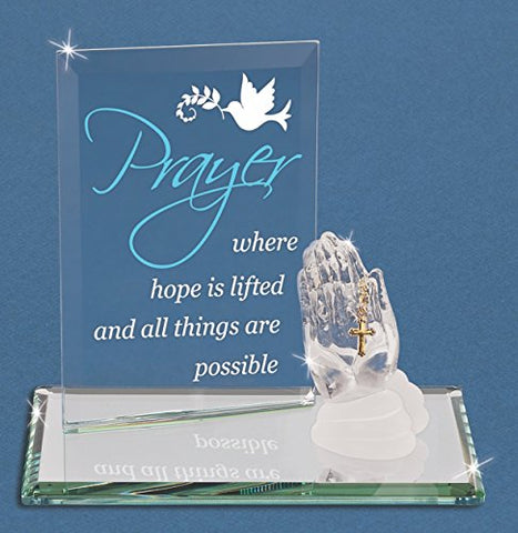 Glass Baron ~ Praying Hands with Cross ~ Great  Communion Gift  ~  New in Box