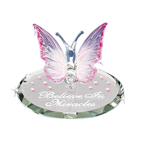 "Glass Baron Charming Butterfly ""Believe In Miracles"" Figurine Accented with Swarovski Crystal"