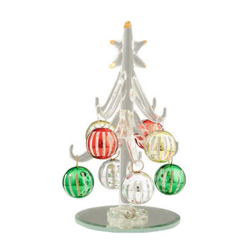 Art Glass 4 Inch Clear Glass Christmas Tree with 8 Stripped Ornaments Multi-color