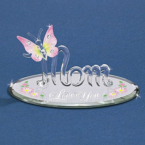Mom with Butterfly Love You Glass Figurine - Perfect Mother Gift