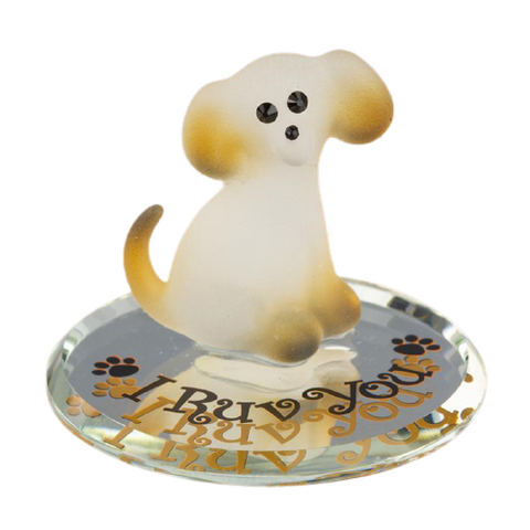 "Playful Handcrafted Puppy ""I Ruv You"" Glass Baron Figurine White and Brown Dog Mounted on Mirror Base Accented with Swarovski Crystal"