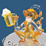 "Glass Baron ""Monkey Party"" Figurine Holding Frothy Beer Accented with Swarovski Crystals Real 22kt Gold Squatting on Beveled Mirror Base"