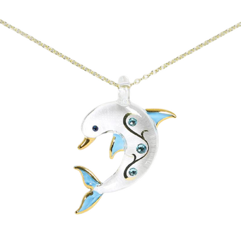 Glass Baron Stunning Gold Dolphin Necklace Accented with Blue Swarovski Crystal and 22Kt Gold