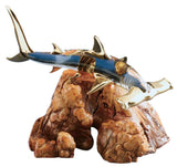 Beautiful Glass Baron Handcrafted Hammerhead Shark on Manzanita Wood Figurine Accented with 22kt Gold