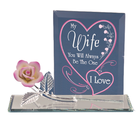 "Glass Baron Figurine of Pink Rose Embossed with ""My Wife You Will Always be the One I Love"""