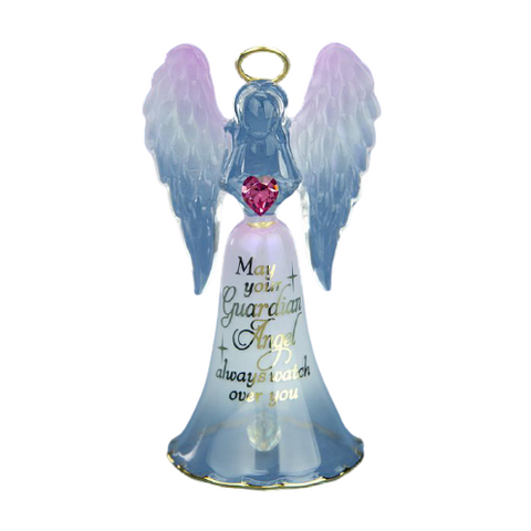 Glass Baron Angel Handcrafted Bell Figurine Holding Heart with Swarovski Crystal Accents