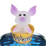 "Glass Baron White and Pink Little ""Wee Pig"" Figurine in Brown Barrel On Hand Beveled Mirror Base Accented in Genuine Swarovski Crystal"
