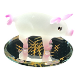 Glass Baron Pink Barnyard Pig Figurine With Swarovski Crystal Eyes, Purple and White Floral Design  Attached on Mirror Base