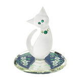 "Glass Baron Beautiful ""White Cat"" Figurine Mounted on Hand Beveled Mirror Accented with Genuine Swarovski Crystals"