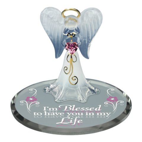 Glass Baron Handcrafted Air-Brushed Figurine Angel Holding Swarovski Crystal Heart