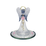 "Handcrafted Glass Angel Figurine with Rose by Glass Baron, 22kt Gold Accents ""Always by Your Side"""
