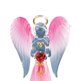 Glass Handcrafted Red Angel Figurine Accented with Red Swarovski Crystal Heart & 22kt Gold