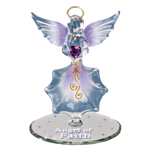 Beautiful Angel of Faith Handcrafted Figurine Glass Baron Accented with Swarovski Crystals Heart