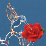 "Glass Baron Hummingbird of Love With Heart and Rose ""I Love You"" Mounted on Round Mirror Base"