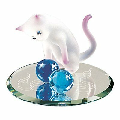 Glass Baron Handcrafted White and Pink Curious Cat Figurine Accented with Swarovski Crystal Eyes