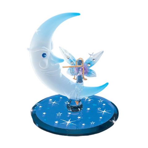 Handcrafted Fairy Playing Flute with Frosted Moon by Glass Baron Accented with Swarovski Crystals
