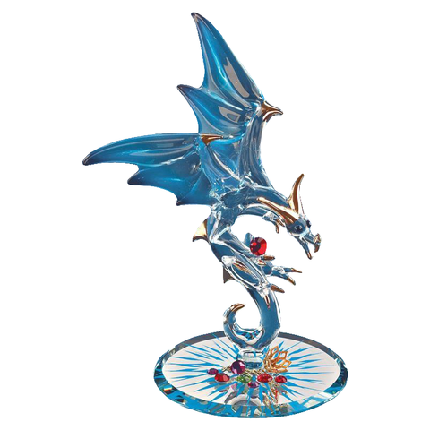 Glass Baron Jewel Keeper Dragon Handcrafted Figurine Accented with Swarovski Crystals and 22Kt Gold