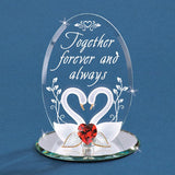 Handcrafted Glass Figurine Together Forever Swans Accented with Swarovski Crystal Heart & 22kt Gold