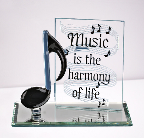 Black Glass Music Note Handcrafted Figurine Mounted on Rectangular Mirror Base by Glass Baron
