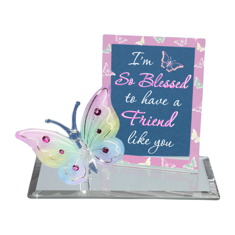 "Glass Baron Butterfly Embossed ""I'm so Blessed to Have a Friend Like You"" With Swarovski Crystal Accent"