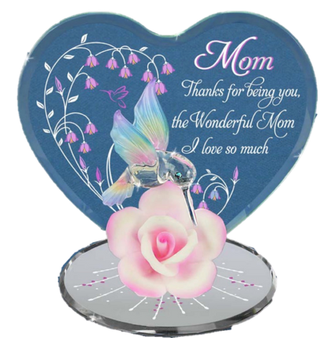 """Wonderful Mom"" Hummingbird with Porcelain Pink Rose Accented with Swarovski Crystal"