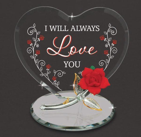 "Red Rose ""I will Always Love you"" Heart Figurine ~ EM5 807-LV"