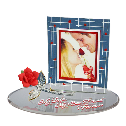 "Glass Baron Perfect Gift Handcrafted Photo Frame ""My Love, Best Friend Forever"", Gorgeous Red Rose Flower Bordered with Gold on Mirror Base"