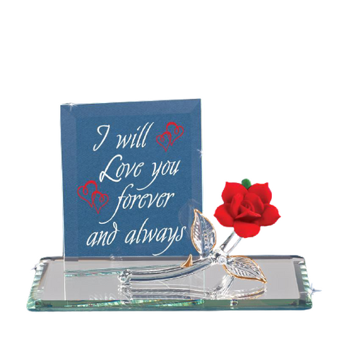 "Glass Baron ""Red Rose Love you Forever and Always"" Figurine with Clear Glass Stem and Leaves Decorative On Rectangle Back Plate Mirror"