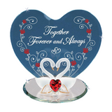 "Beautiful Glass Baron Swan Pair with Red Swarovski Crystal Heart ""Forever and Always"" Figurine Mounted on Beveled Mirror Base"