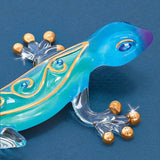 "Glass Baron Cute Colorful ""Desert Jewel Gecko"" Designed with Swarovski Crystal and 22kt Gold"