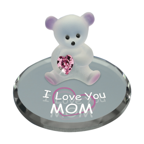 Glass Baron Handcrafted Bear Holding Dark Pink Swarovski Crystal Mounted on Round Mirror Base