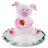 Glass Baron White and Pink Loveable Pig Figurine Holding Red Swarovski Crystal Heart