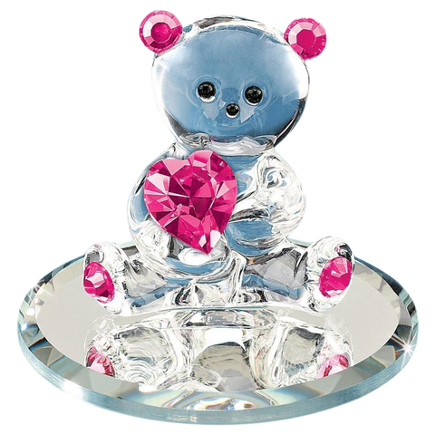 Glass Baron Bear Figurine with Pink Swarovski Crystal Heart Mounted On Round Mirror Base