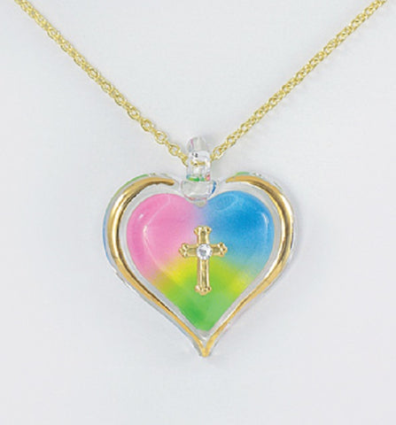Rainbow Heart with Cross Necklace ~ Crystal