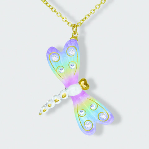 Beautiful Rainbow Dragonfly w/Crystals Necklace ~ JP 340