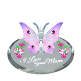 "Handcrafted ""I Love You Mom"" Butterfly Figurine by Glass Baron Accented with Swarovski Crystals"
