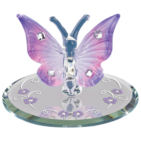 Glass Baron ~ Lavender Butterfly with Crystals ~ Beautiful ~ New in Box