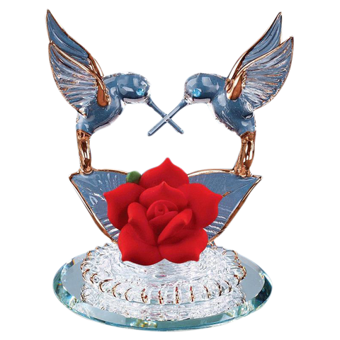 Hummingbirds & Red Rose Glass Figurine ~ P1 342-R