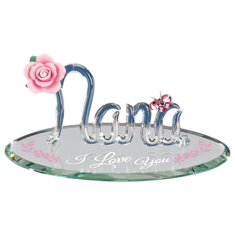 Glass Baron ~ Nana I Love You ~ Pink Rose ~ Grandmother ~ New in Box