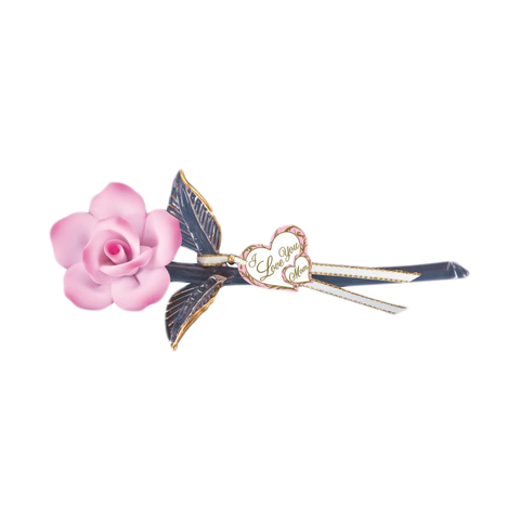 "Pink Rose ""I Love You"" ~ 22kt gold trim ~ 6.5"" ~ P3 414-PM"