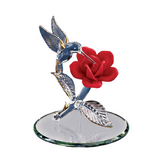 Glass Baron Handmade Hummingbird Figurine with Red Rose Accented with Swarovski Crystal & 22Kt Gold