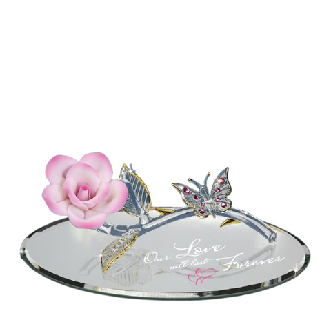 Glass Baron Figurine of Pink Rose and Butterfly Accented with Swarovski Crystals, Valentine Gift