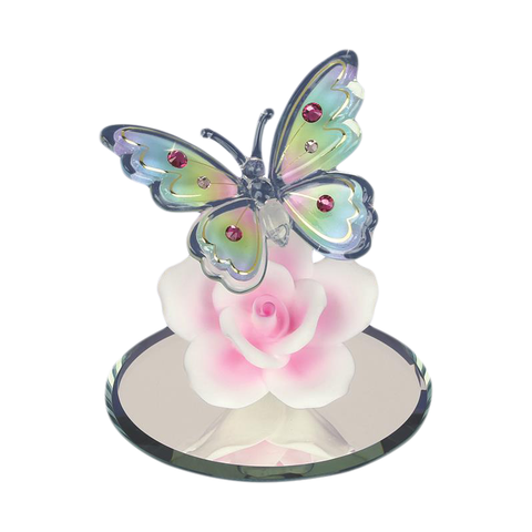 Glass Baron Handcrafted Bedazzled Butterfly Figurine with Pink Rose Accented with Swarovski Crystal
