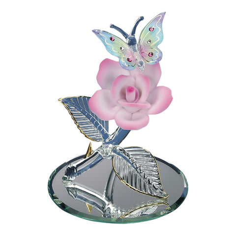 Handcrafted Glass Baron Pastel Butterfly On Pink Rose Figurine Accented with Swarovski Crystals